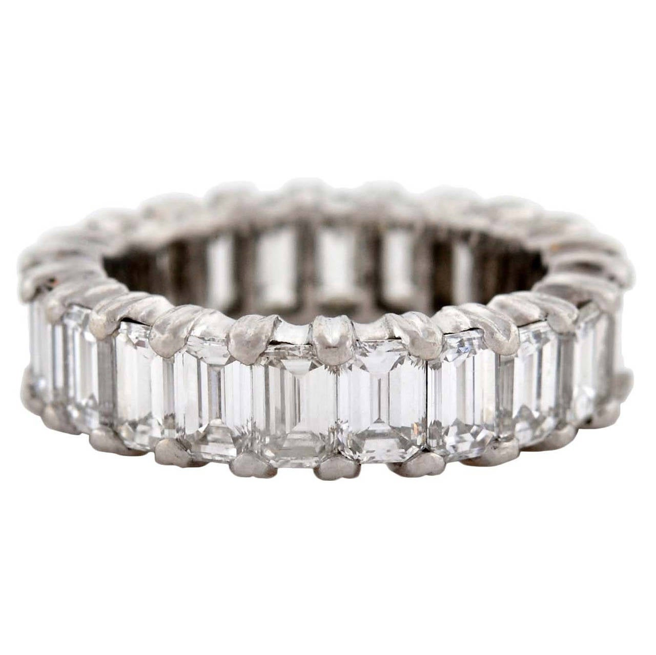 Contemporary Emerald Cut Diamond Platinum Eternity Band 6ctw 1