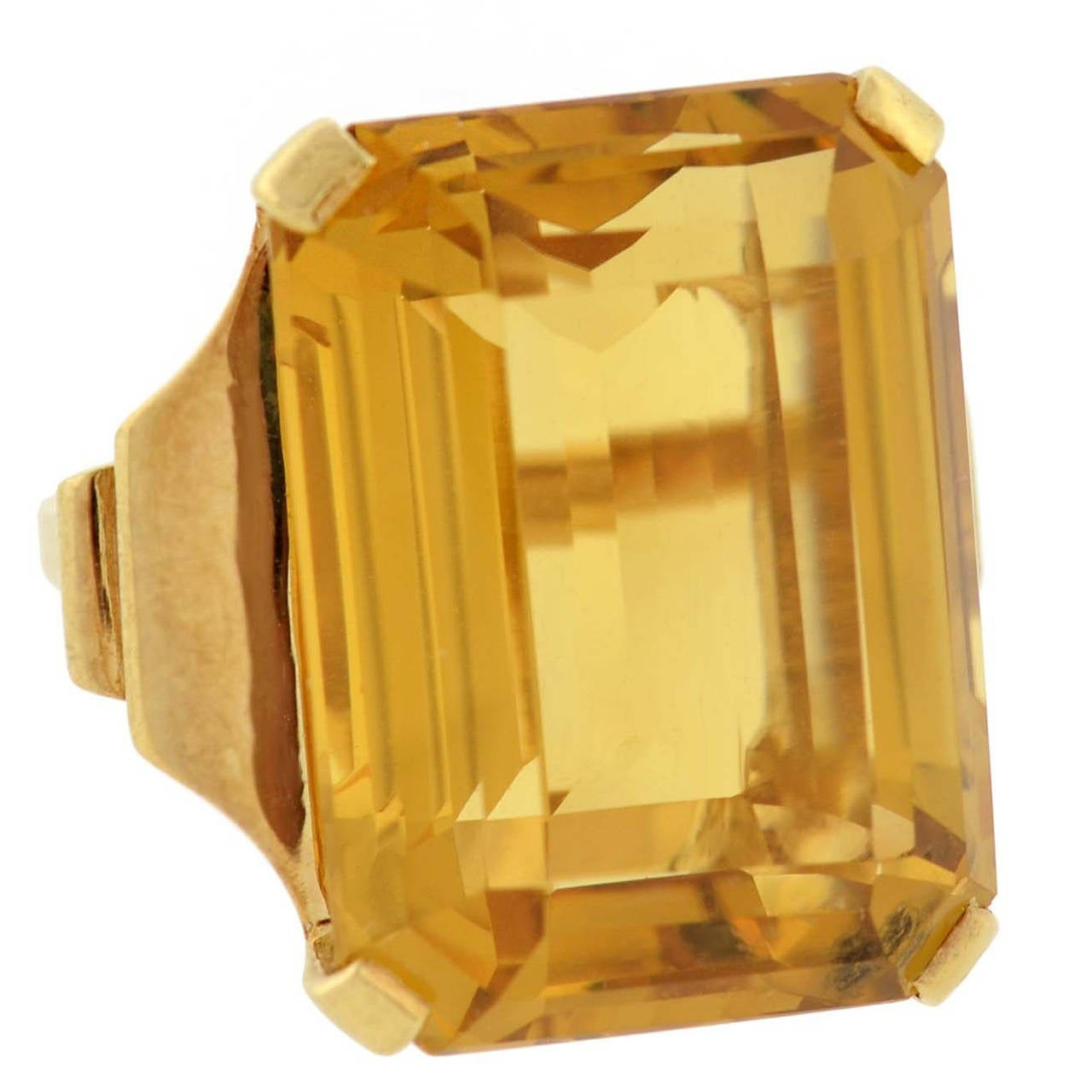 Retro Citrine Gold Cocktail RIng 30ct For Sale