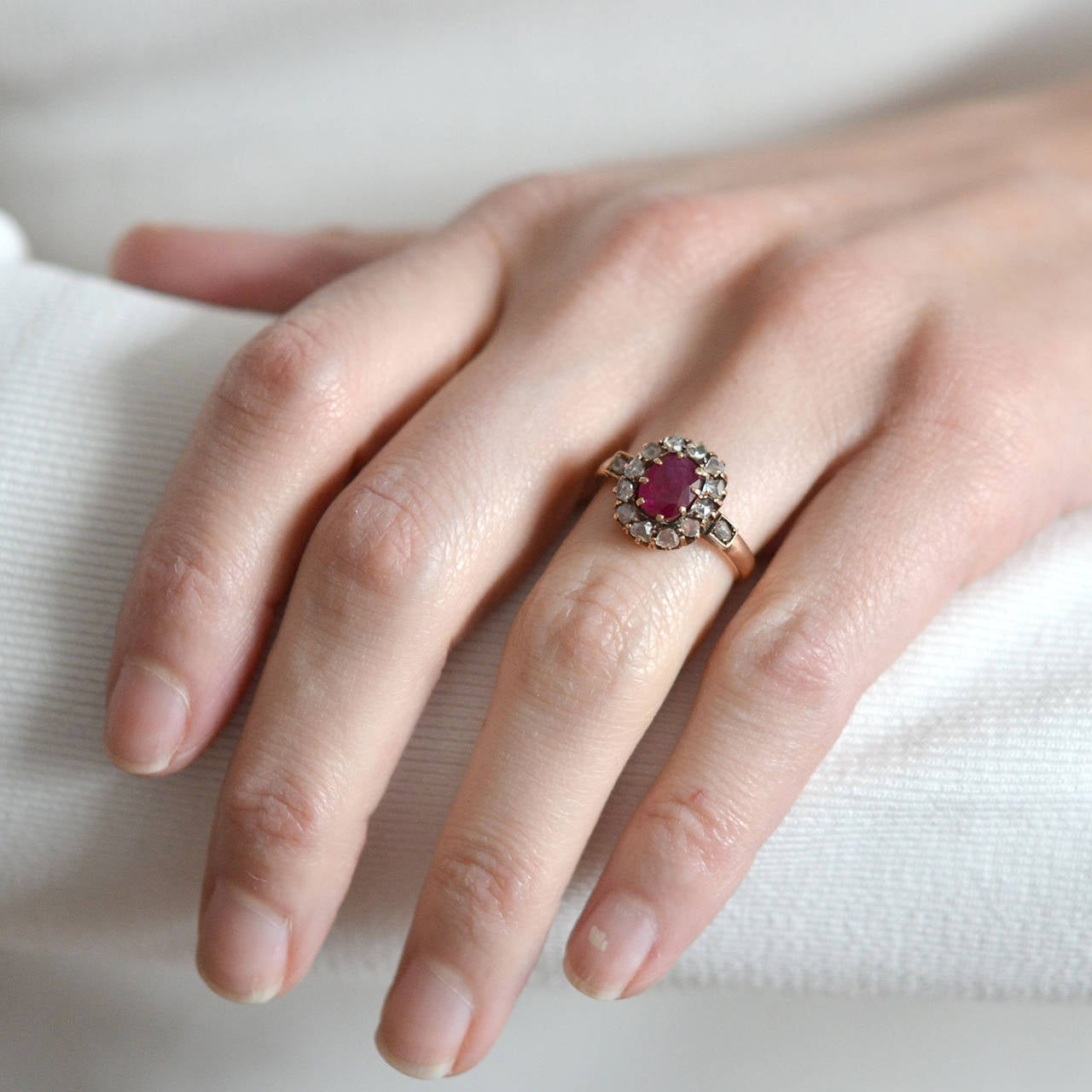 Victorian Burmese Ruby Rose Cut Diamond Gold Cluster Ring For Sale ...