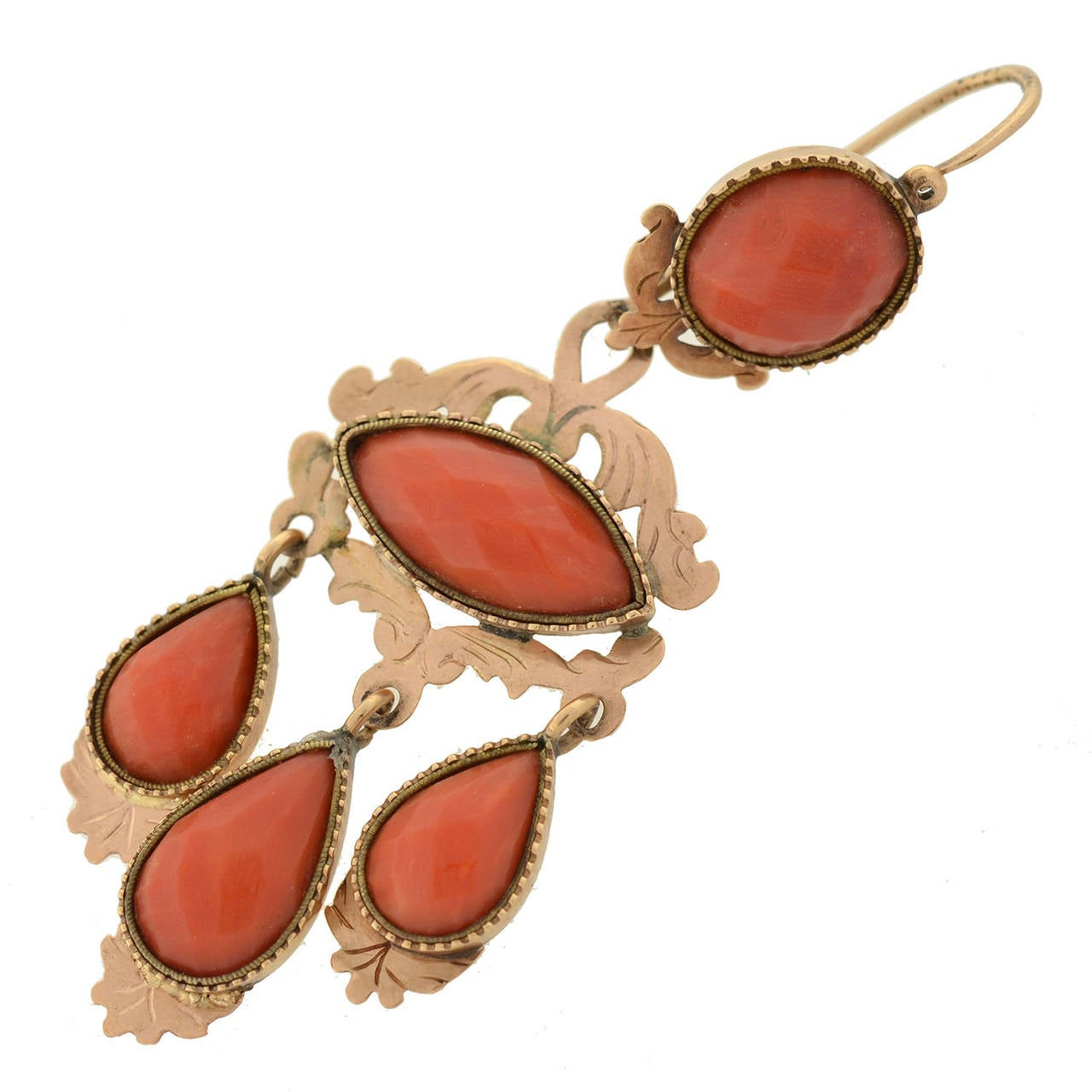 Victorian Faceted Coral Gold Dramatic Day And Night