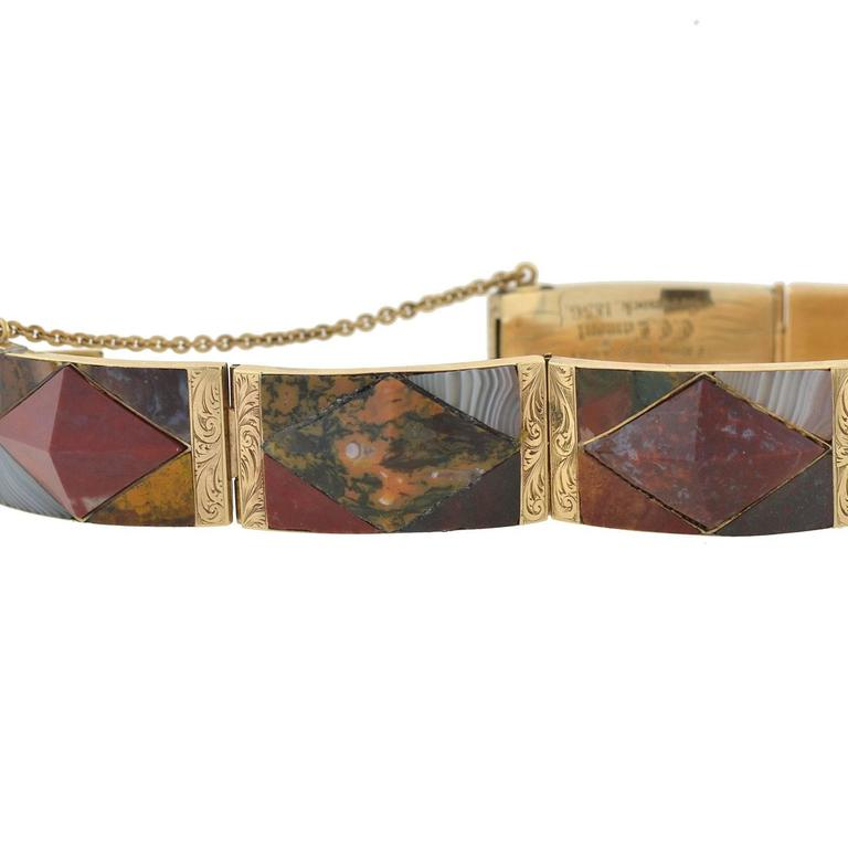 Early Victorian Victorian Scottish Agate Gold Link Bracelet For Sale