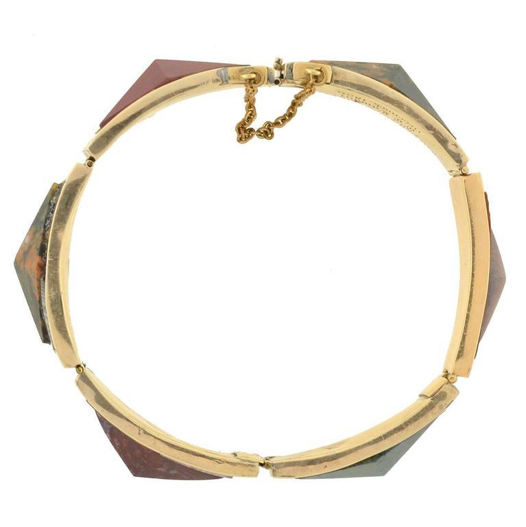 Women's Victorian Scottish Agate Gold Link Bracelet For Sale