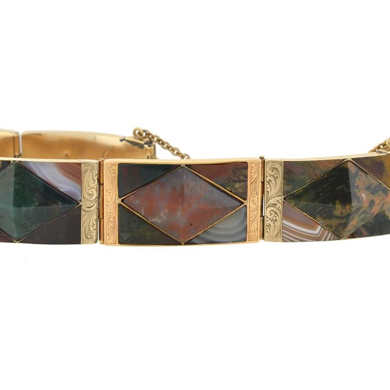 Victorian Scottish Agate Gold Link Bracelet In Excellent Condition For Sale In Narberth, PA