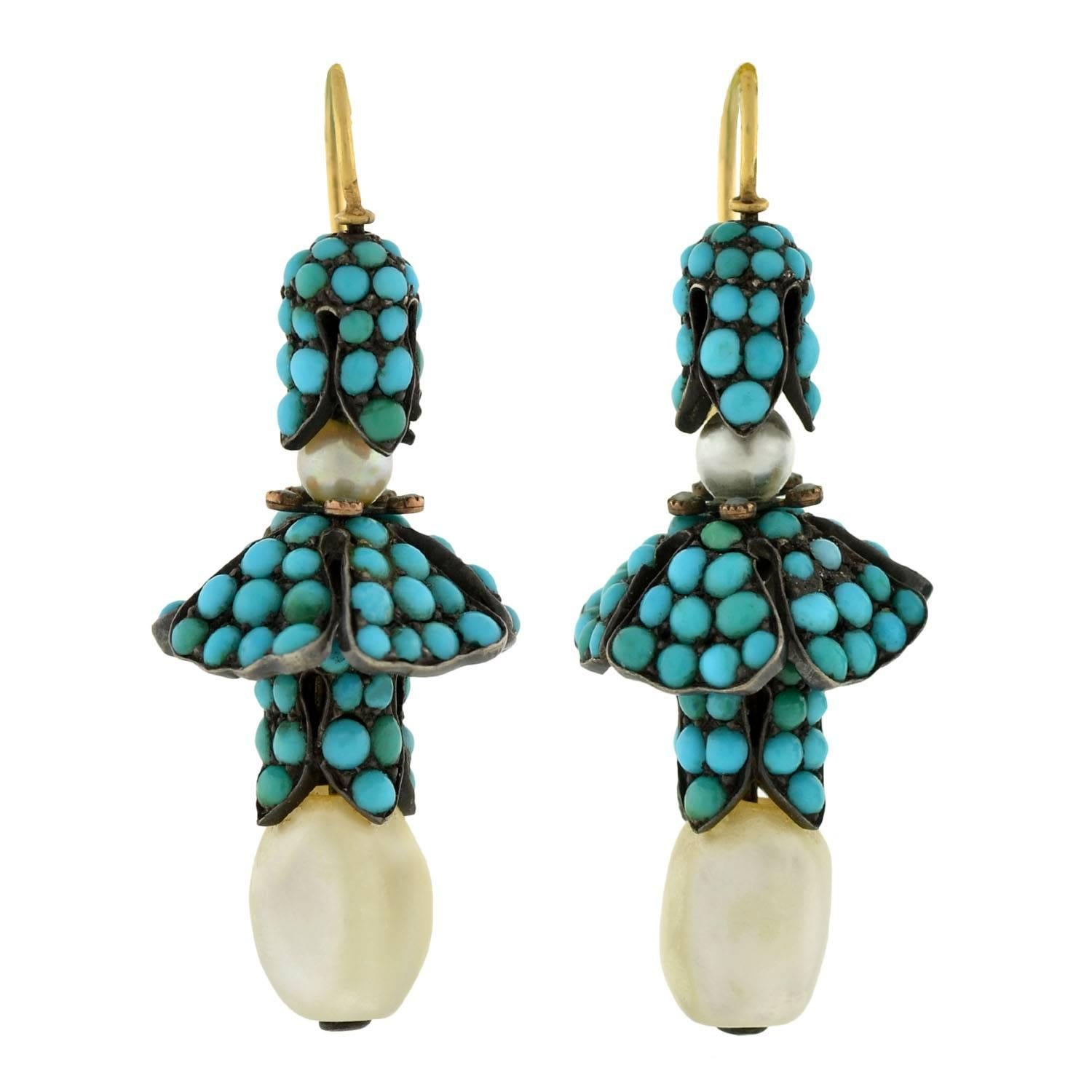 Victorian Persian Turquoise Natural Pearl Silver Gold Earrings