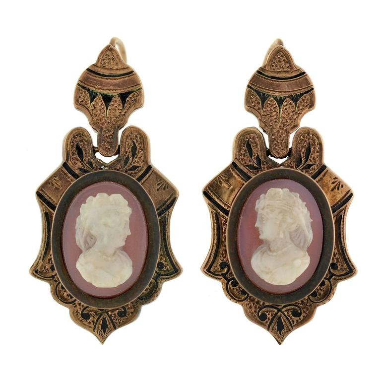 Victorian Hand Carved Sardonyx Cameo Gold Earring Pin Set 2