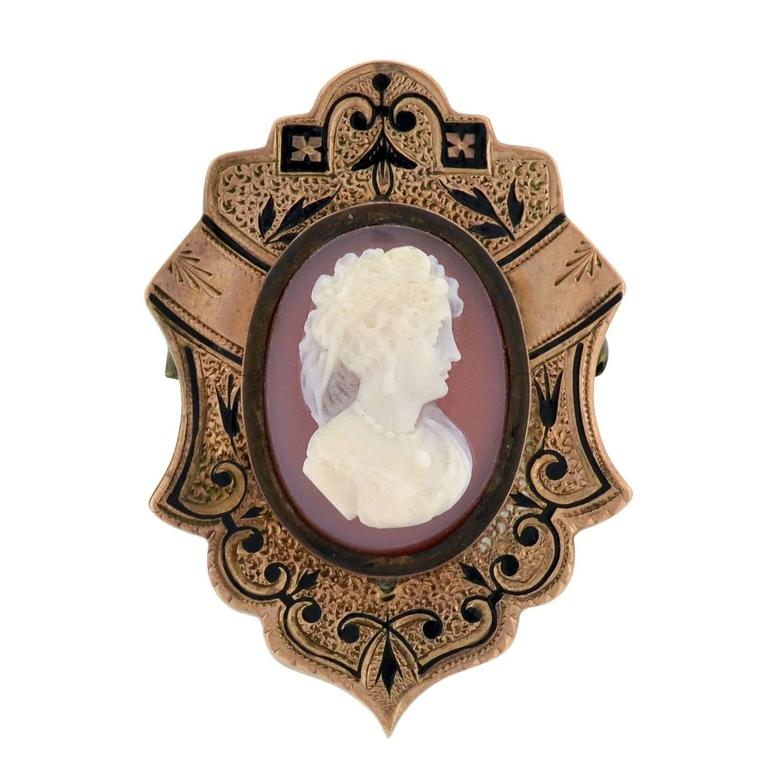 Victorian Hand Carved Sardonyx Cameo Gold Earring Pin Set 4