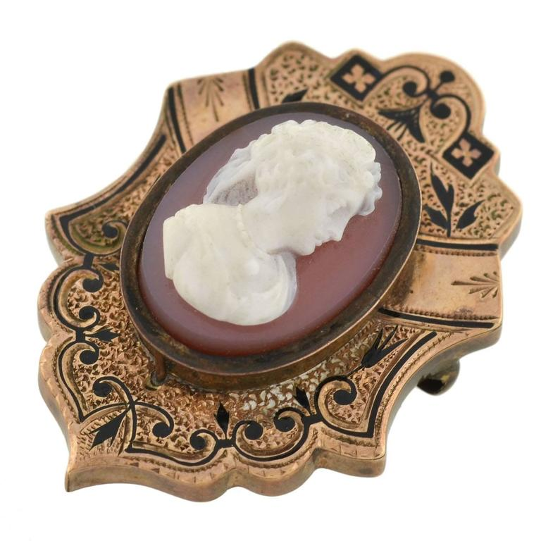 Victorian Hand Carved Sardonyx Cameo Gold Earring Pin Set 6