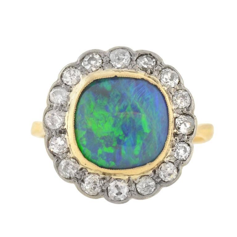 Edwardian Mixed Metals Black Opal Diamond Ring at 1stdibs