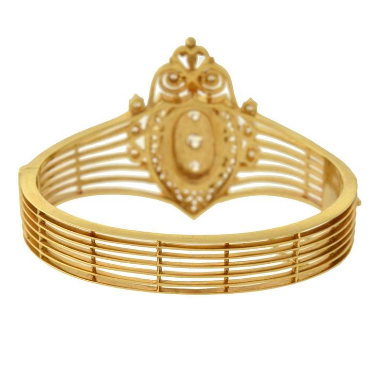 Women's or Men's Victorian Revival Diamond Gold Bracelet For Sale