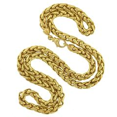 Contemporary Gold 36 Inch Braided Rope Chain Necklace