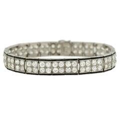 Art Deco Onyx Diamond Platinum Double Row Line Bracelet