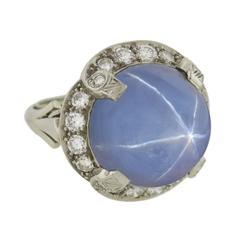 1930s Late Art Deco 12 Carat Star Sapphire Diamond Gold Ring