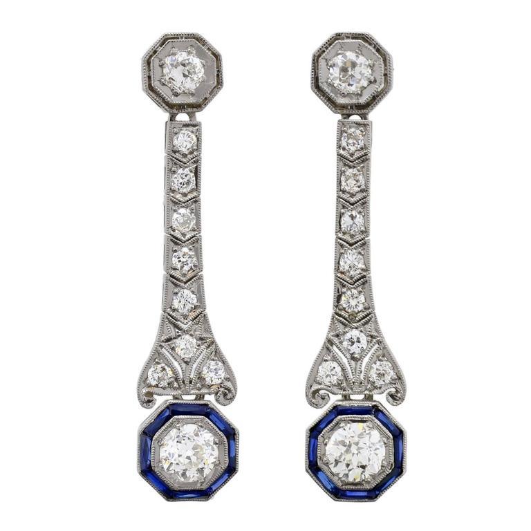 Art Deco Dramatic Sapphire Diamond Platinum Dangle Earrings
