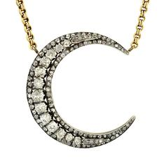 Victorian Sterling Topped Diamond Crescent Necklace
