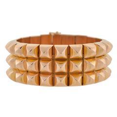Retro French Pyramidal Link Gold Bracelet