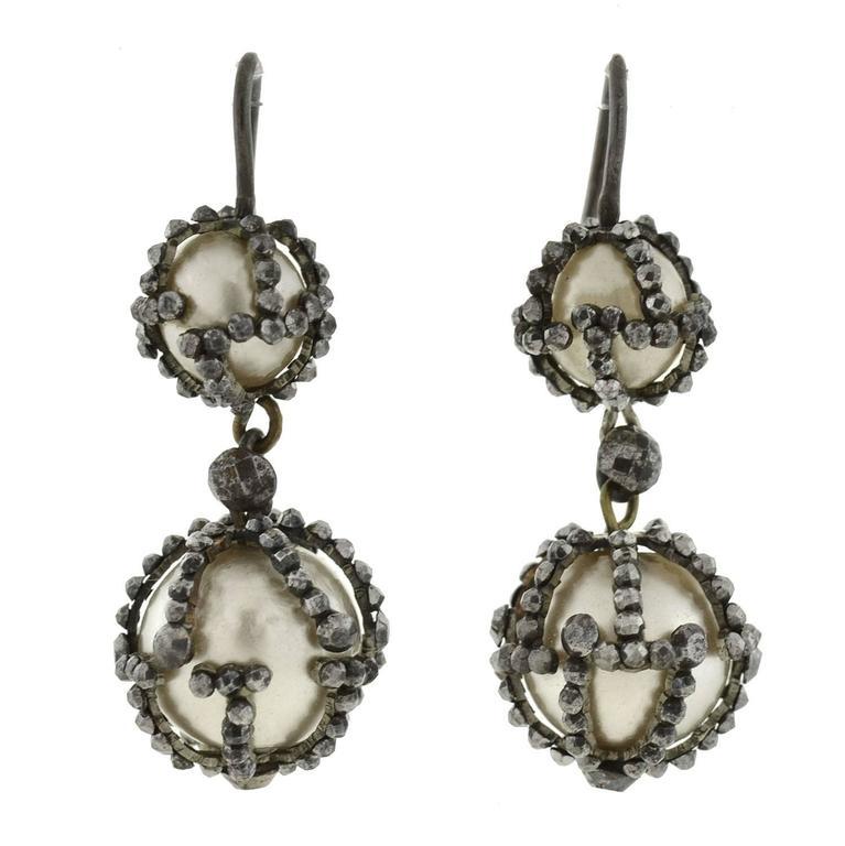 1880s Victorian Natural Pearl Cut Steel Earrings