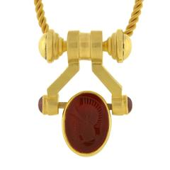 Aurafin Contemporary Carnelian Onyx Intaglio Gold Spinner Necklace
