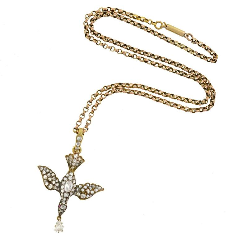 Victorian ruby rose cut diamond gold saint esprit dove necklace at the aloadofball Choice Image