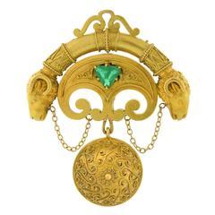 Victorian Emerald Gold Etruscan Ram's Head Pendant