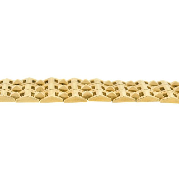 Women's or Men's Contemporary Pyramidal Stud Link Wide Gold Bracelet  For Sale