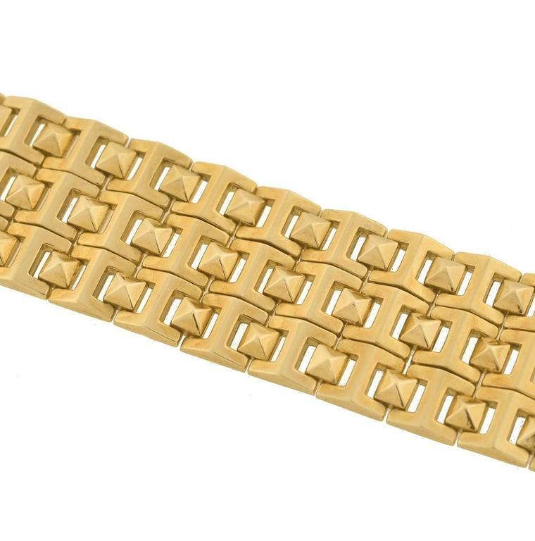 Contemporary Pyramidal Stud Link Wide Gold Bracelet  In Excellent Condition For Sale In Narberth, PA