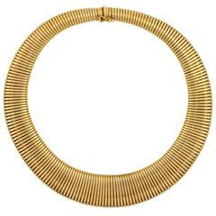 Retro Wide Graduating Gold Gooseneck Chain Necklace