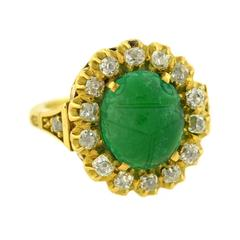 Victorian Carved Scarab Emerald Diamond Gold Ring