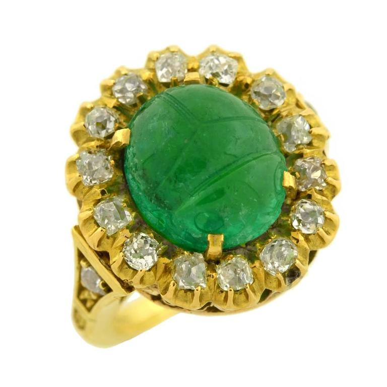 carved scarab emerald gold ring for sale