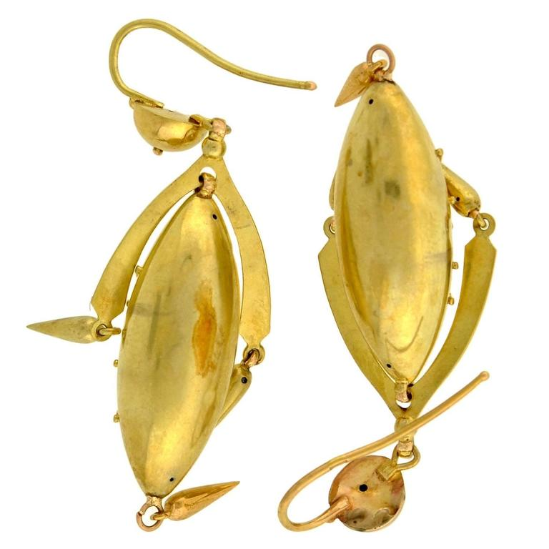 Victorian Yellow Gold Etruscan Drop Earrings For Sale 3