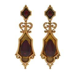"Georgian Dramatic ""Day and Night"" Garnet Gold Earrings"
