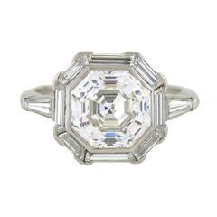 Art Deco 2.68 Carat GIA Cert Octagonal Step Cut Diamond Platinum Engagement Ring