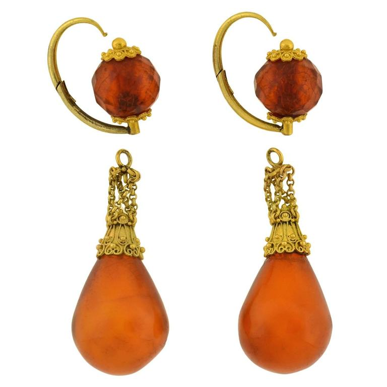 "Victorian ""Day and Night"" Etruscan Carved Amber Gold Earrings 6"