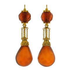 "Victorian ""Day and Night"" Etruscan Carved Amber Gold Earrings"