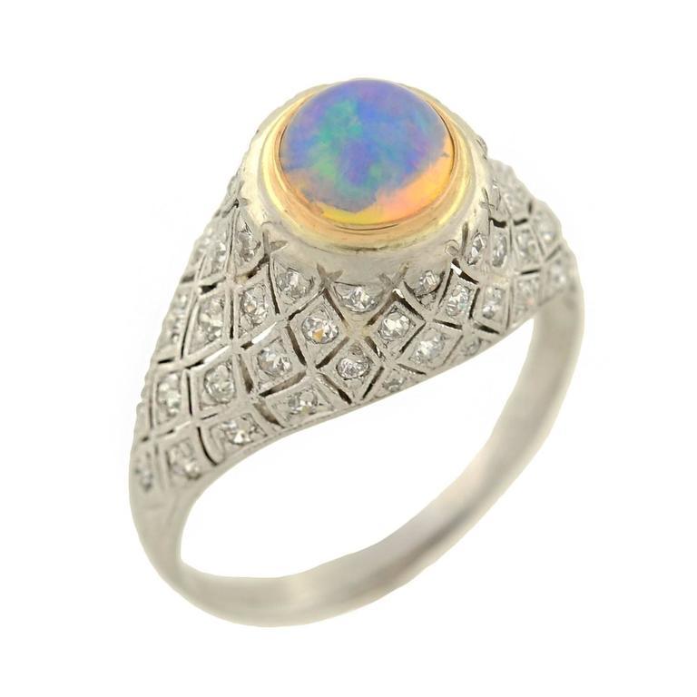 1910s Art Deco Opal Diamond Gold Platinum Domed Ring