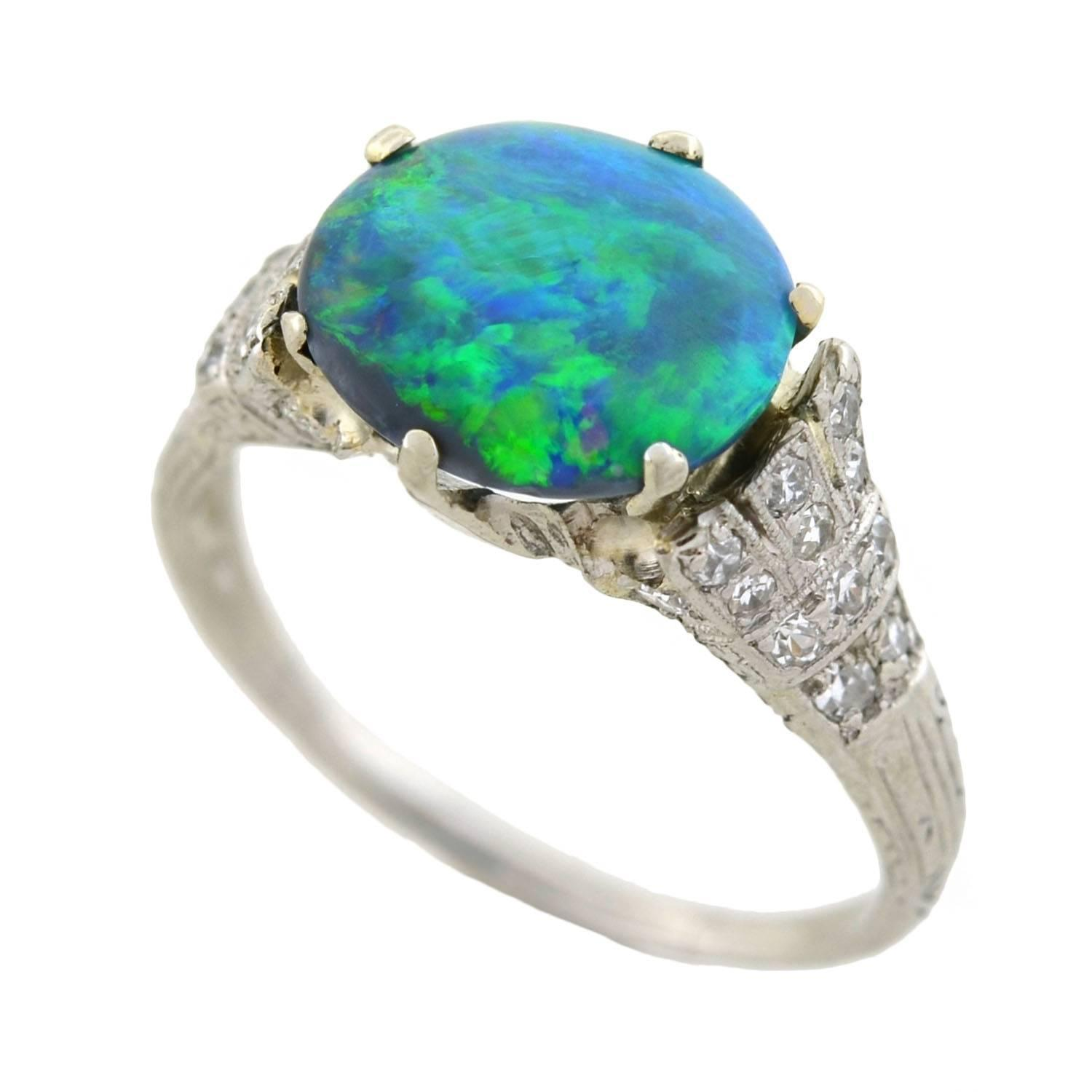 deco black opal platinum ring at 1stdibs