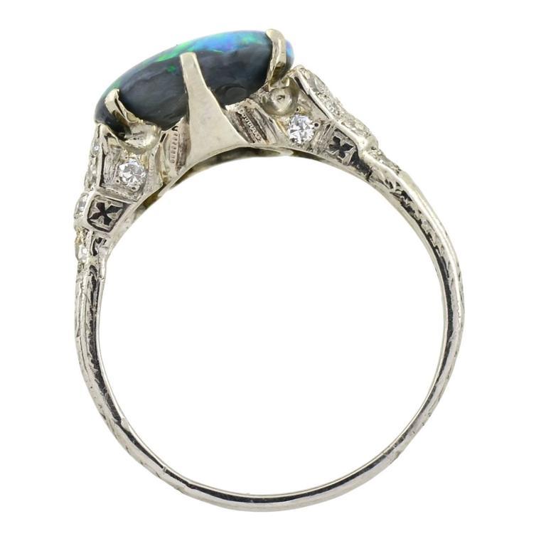 deco black opal platinum ring at 1stdibs