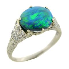 Art Deco Black Opal Diamond Platinum Ring