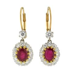 Contemporary Ruby Diamond Mixed Metals Cluster Earrings