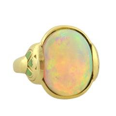 Larter & Sons Art Nouveau Enameled Opal Gold Ring