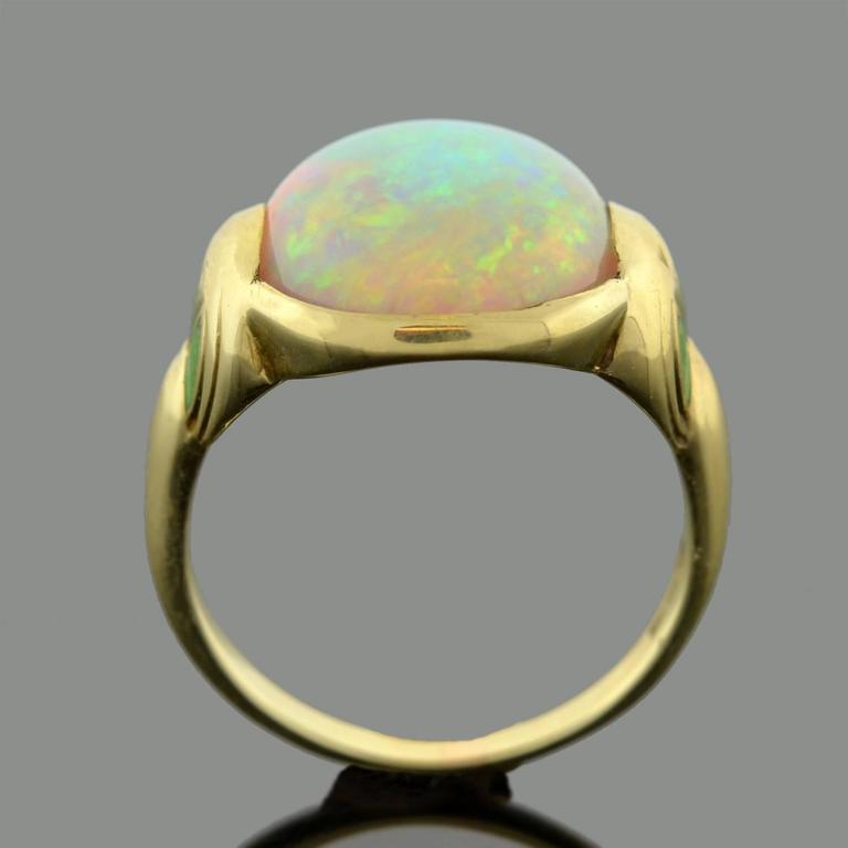 Larter & Sons Art Nouveau Enameled Opal Gold Ring 4