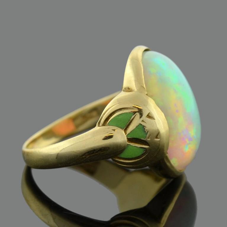Larter & Sons Art Nouveau Enameled Opal Gold Ring 2