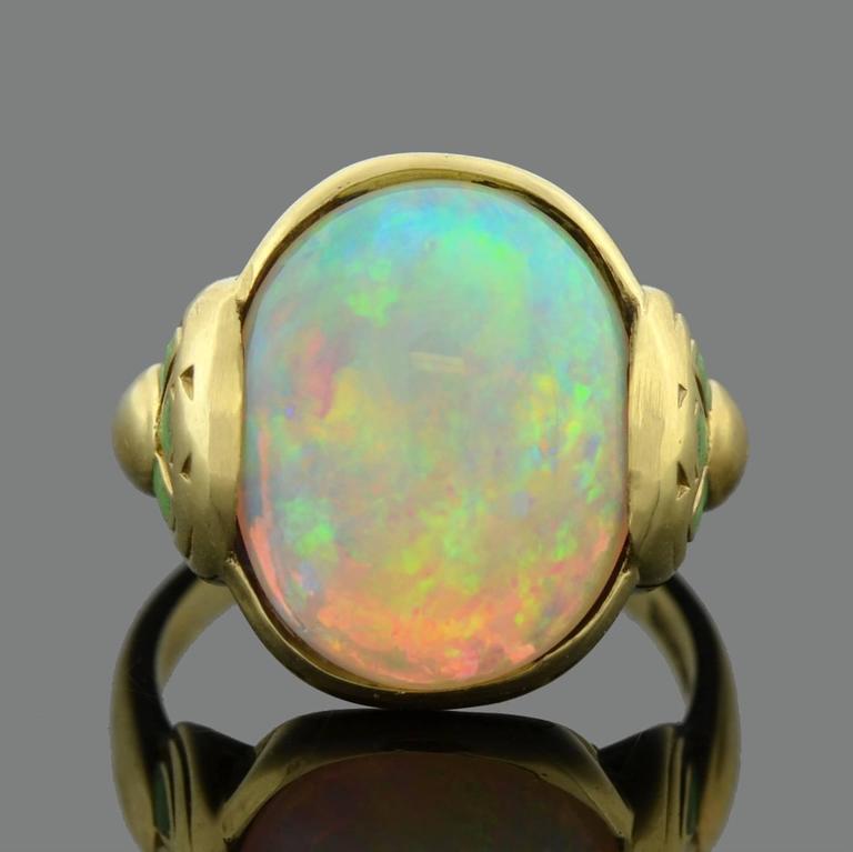 Larter & Sons Art Nouveau Enameled Opal Gold Ring 3