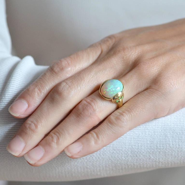 Larter & Sons Art Nouveau Enameled Opal Gold Ring 7