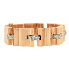 Retro Diamond Accented Heavy Link Gold Bracelet