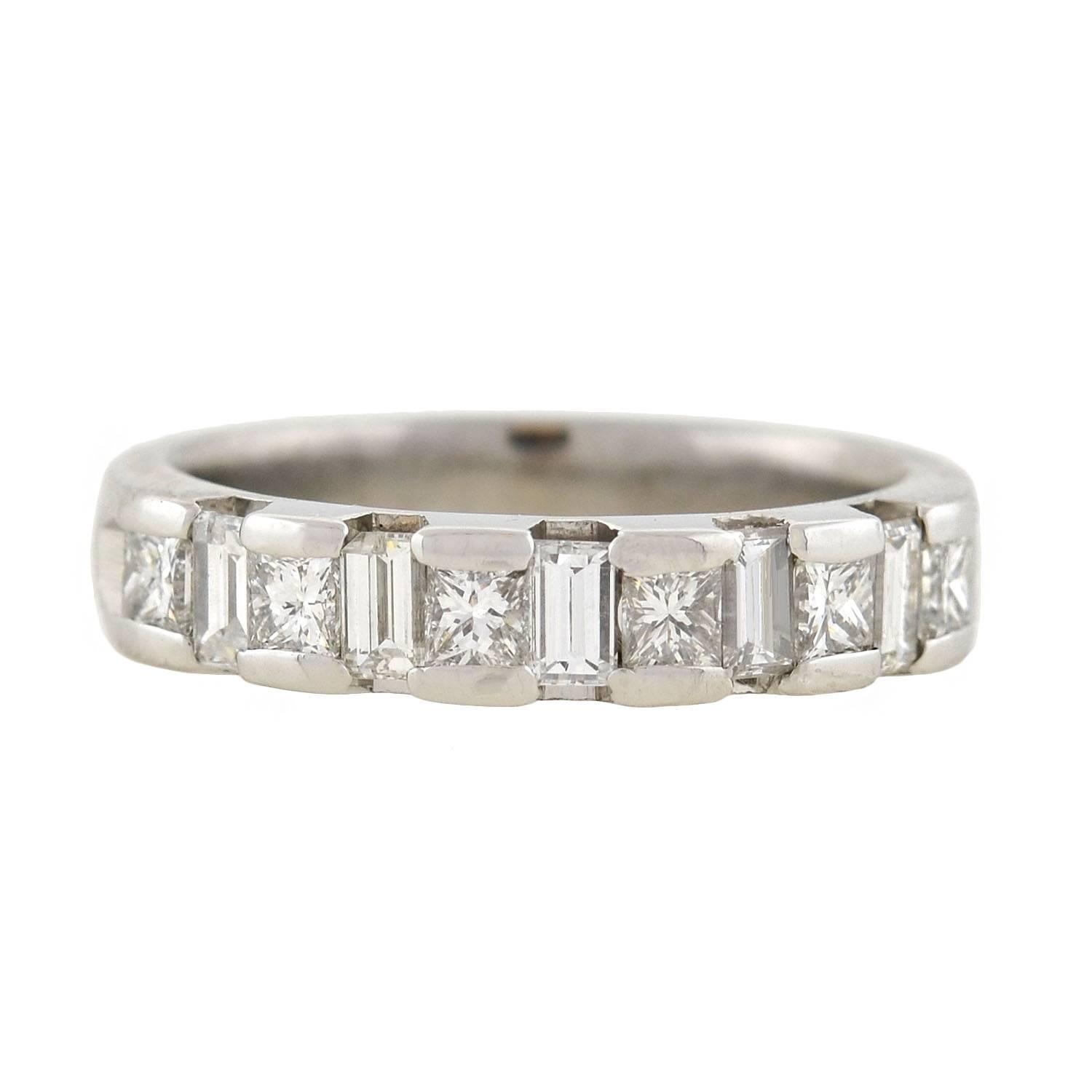 shop bands in platinum diamond tw braided p band eternity ct ring baguette for