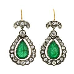Edwardian Emerald Diamond Silver Gold Teardrop Earrings