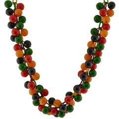 Retro Multi-Colored Bakelite and Celluloid Necklace
