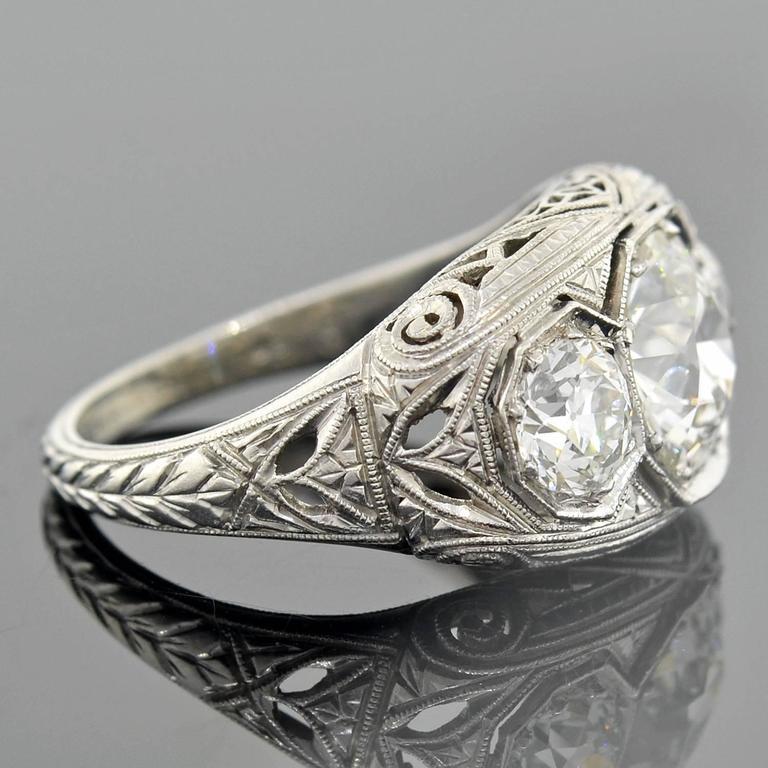 Art Deco 3 Stone 2 55 Carats Diamonds Platinum Filigree