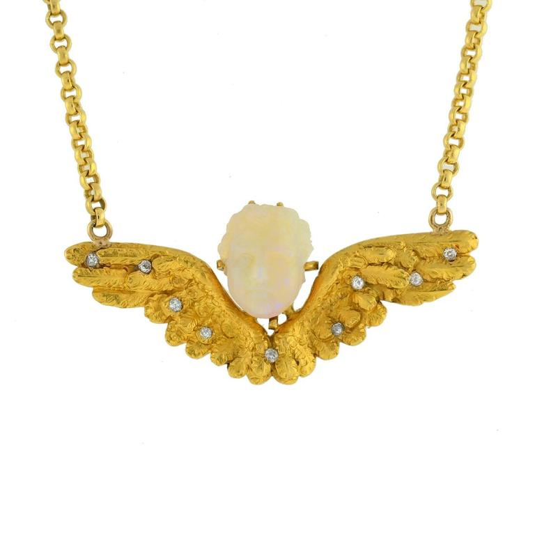Victorian Hand Carved Opal Diamond Gold Winged Cherub Necklace