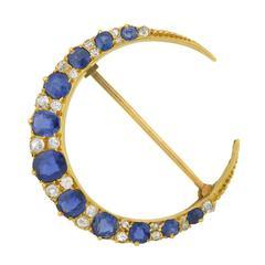 Victorian Sapphire Diamond Gold Crescent Pin